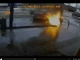 On Camera: Driver Hits Gas Station Attendant, Sparks Pump Fire