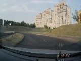 Clearer Full Version Of Motorcyclist Makes Insane Landing After Crash In Belarus