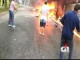 Airplane Crashes On A Street In Brazil