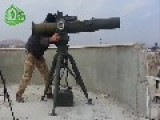 A Low Res View Of A Syrian Sunni Arab Citizen Soldier Engaging An Assad Crime Dynasty Rocket Launcher Vehicle, With A