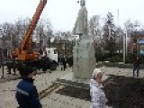 Crane Drops Statue Of Lenin