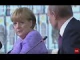 Putin Makes Fun Of Angela Merkel, Merkel Gives Him Stern Look