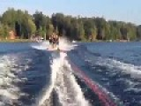 Guys Try To Make Human Pyramid While Water Skiing