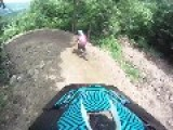 Mountain Biker Gets Wind Knocked Out Of Him