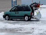 Canadian Man Has Unusual But Effective Homemade Snowplow
