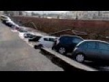 20 Cars Plunged Into Ditch After Embankment Collapse