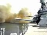 USS Wisconsin Firing 16in Guns!