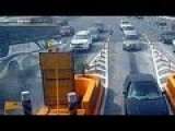 Skillful Bus Driver Avoids Collision On Multiple Vehicles On A Tollgate
