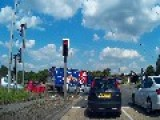 YF13 JSZ - Red Vauxhall Corsa - Jumping Red Light In Bradford M62, Chain Bar Roundabout