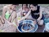 Beautiful Girl Cooks Snake