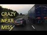 Car Looses Control In Outside Lane & Has Near Miss With Lorry