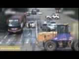 Chinese Police Subdue Crazy Bulldozer Driver