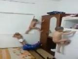 3 Naked Babys Play Like Monkeys