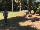 Guy Fails To Leap Frog Over Friend