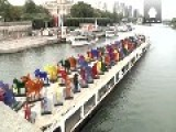 'Noah's Arc For Climate' Sails Along River Seine In Paris