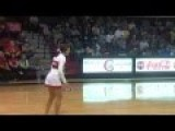 Cheerleader Makes Halfcourt Shot After Flip