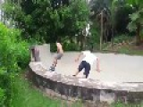 Skateboarder Flies Out Of Bowl