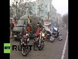 Ukraine: Russia's Night Wolves Gang Bring Aid To A Lugansk Village