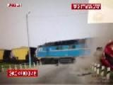 Train Crashes Into Tourist Bus