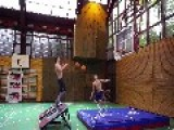 Basketball Acrobats Perform Dunking Tricks