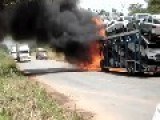 Auto Transporter Burn On The Road