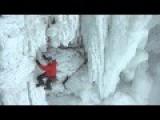 Man Climbs Up Frozen Niagara Falls - 147 Feet 43 Meters
