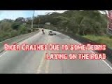 Biker Crashes Due To Some Debris Laying On The Road