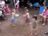 Thai Boxing: Two Kids Are Having Fun Play Thai Boxing