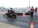 8 Second Turbo Snowmobile Sleds Drag Racing On Asphalt At US 131 Speedway, 2010