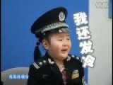 Cute Little Chinese Girl Scared On TV Show