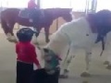 Little Guy Shows How To Mount A Horse