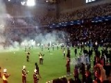 Rangers Vs Union Berlin - Hooligans Storm The Pitch Before The Kick Off