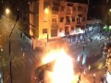 Rioters Set Fire To Water Cannon Truck In Caracas, Venezuela