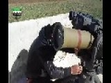 A Syrian Sunni Arab Citizen Tank Hunter Gets A Hit On An Assad Crime Armoured Bulldozer, With A TOW ATGM Jan