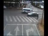 Ambulance Causes Freak Accident - Nearly Kills Two Pedestrians