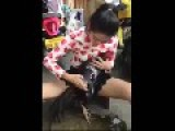 Asian Lady With Legs Spread Wide Washing Some Guys Big Black Cock