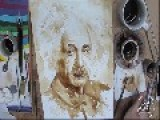 Albert Einstein Painted In Coffee
