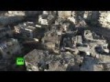Aerial: Drone Footage Shows Total Devastation In Homs, Syria EXCLUSIVE