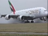 Airbus A380 FULL Thrust Reverse On A Wet Runway+crosswind Approach