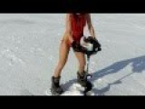 A Girl In A Bikini, Drilling A Hole For Ice Fishing - Errrrrrrr, What?