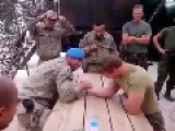 Arm Wrestling Turkish Soldier Vs. Dutch Soldier