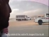 Arab Chases Truck By Foot - Climbs On Top - Stops The Vehicle