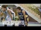 American Kid Playing Basket Ball In Iraq Making Bank