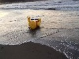 A Mysterious Giant Legoman Appeared On A Japanese Beach
