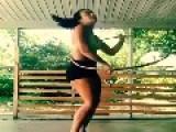Aggressive Girl Plays With Hula Hoop
