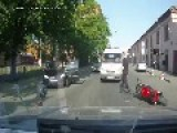 Biker Meltdown! Car Knocks Down A Biker,biker Goes Apeshit,driver Soils Pants Skirt.Amberlamp Arrive...fast Visual Check And Drives Away