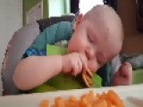 Baby Tries To Eat While Falling Asleep