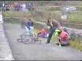 Bicyclist Attempts Cheating.....gets Thrown Off Of Bridge As Result