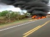 Bus And Tanker Truck On Fire After Head On Collision