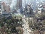 Battle Between Riots And Police Seen From Above - Santiago De Chile